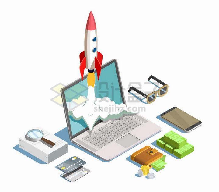 2.5D风格笔记本电脑上起飞的火箭和美元银行卡等金融元素png图片免抠矢量素材