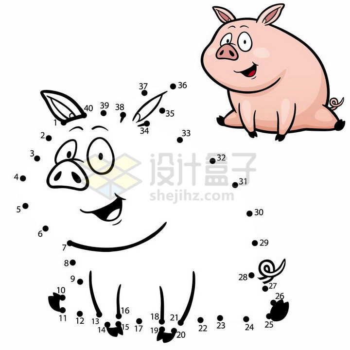 儿童绘画游戏画一头猪png图片免抠素材