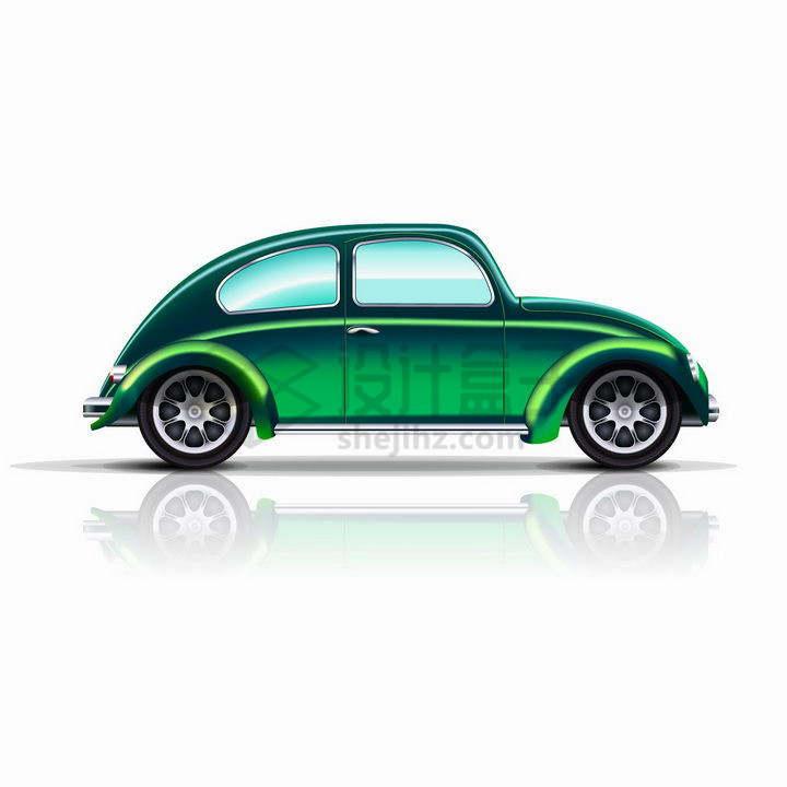 绿色涂装的甲壳虫老爷车汽车侧视图png图片免抠矢量素材
