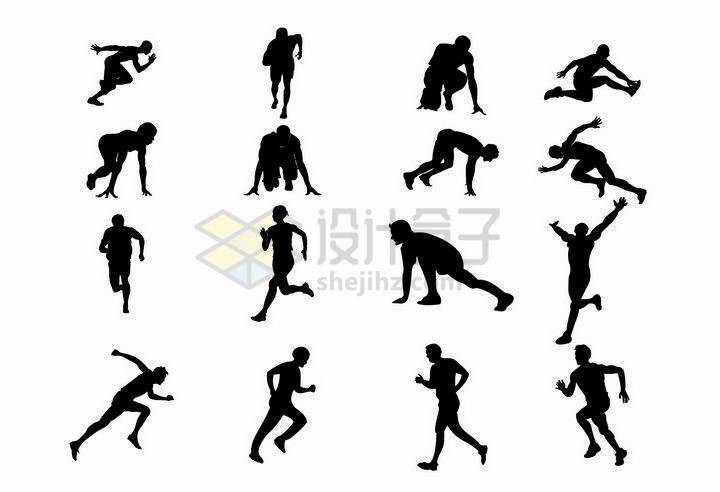 16款准备起跑做拉伸动作的跑步运动员剪影png图片免抠矢量素材