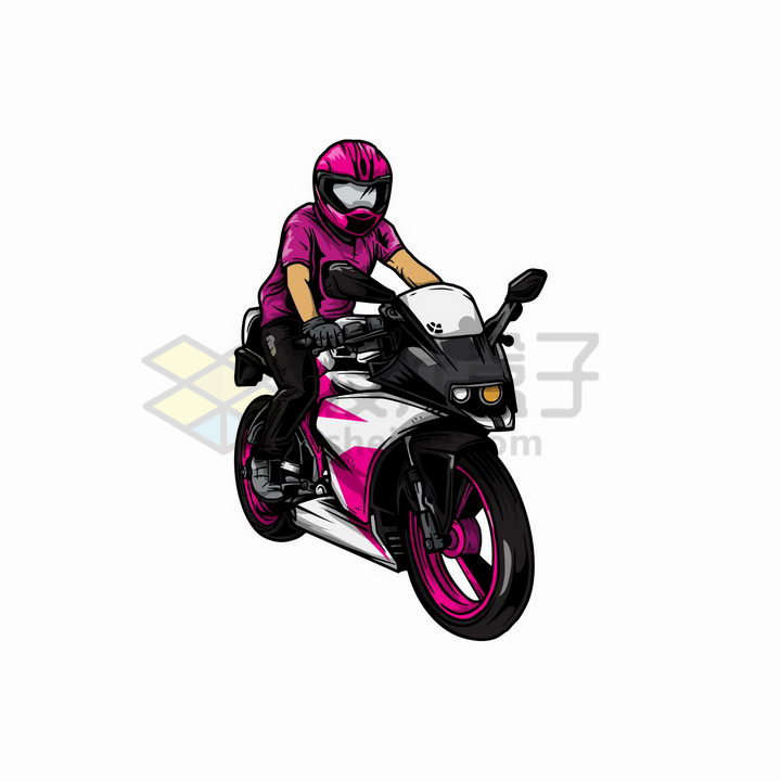 骑粉色摩托车的女驾驶员彩绘插图png图片免抠矢量素材