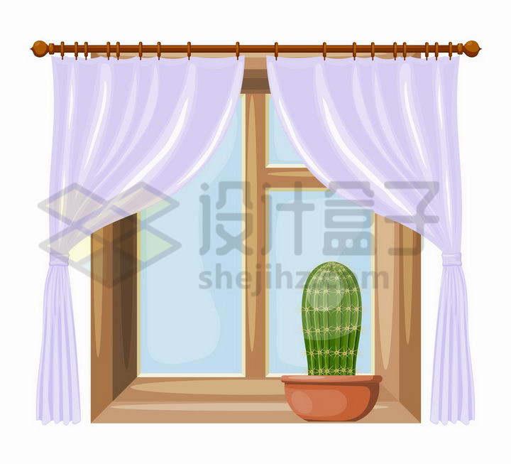卡通风格拉开的淡紫色窗帘和放着仙人掌的窗户png图片免抠矢量素材