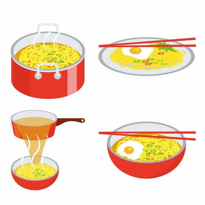 扁平化风格煮面的锅子和碗里的面条png图片免抠素材
