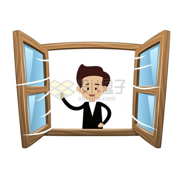 卡通男人打开窗户通风透气png图片免抠矢量素材