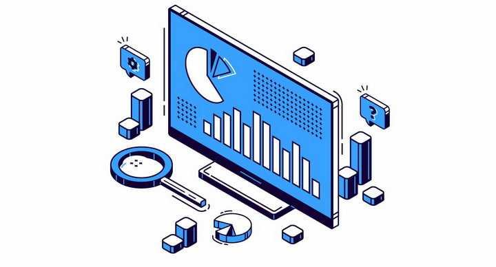 扁平插画风格线条电脑显示器和柱形图饼形图等方块png图片免抠矢量素材