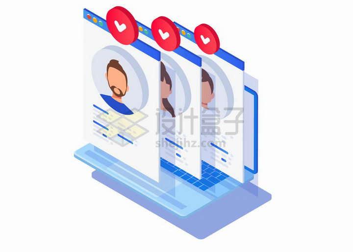 2.5D风格笔记本电脑上显示求职者信息网络招聘png图片免抠矢量素材