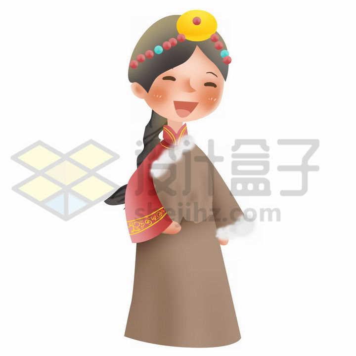 Q版卡通藏族少女传统服饰少数民族png图片免抠素材