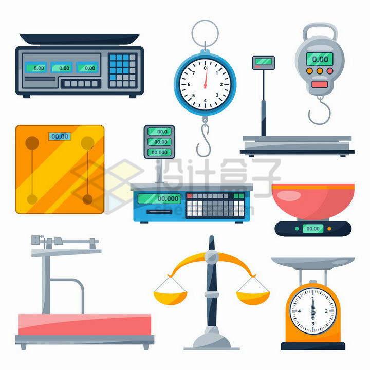 各种各样的电子秤托盘天平秤拉力器等重量测量工具png图片免抠矢量素材