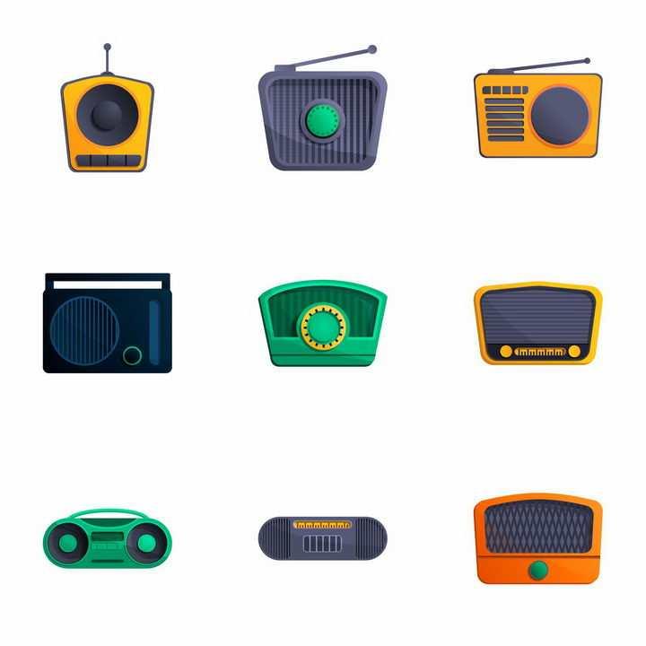 9款卡通风格复古收音机录音机png图片免抠矢量素材