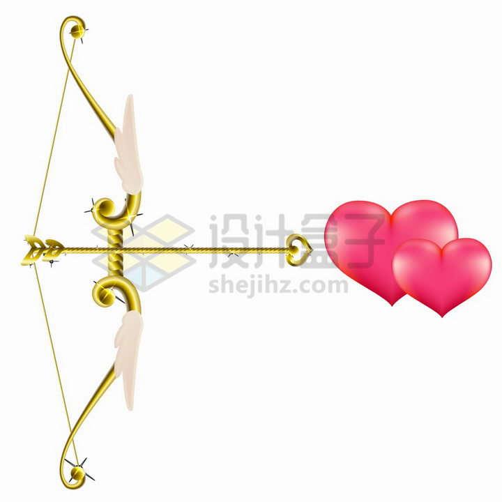 爱神天使的黄金箭射向两颗靠在一起的红心象征了情人节的爱情png图片免抠矢量素材