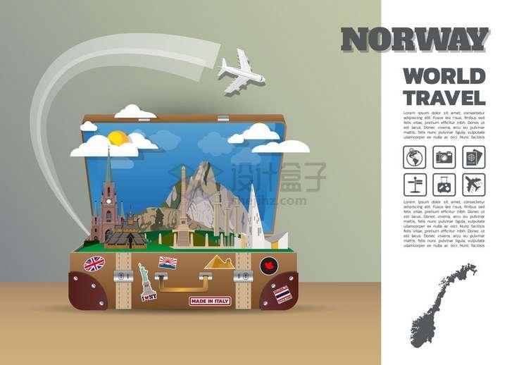 复古旅行箱中的挪威旅游景点插画png图片免抠矢量素材