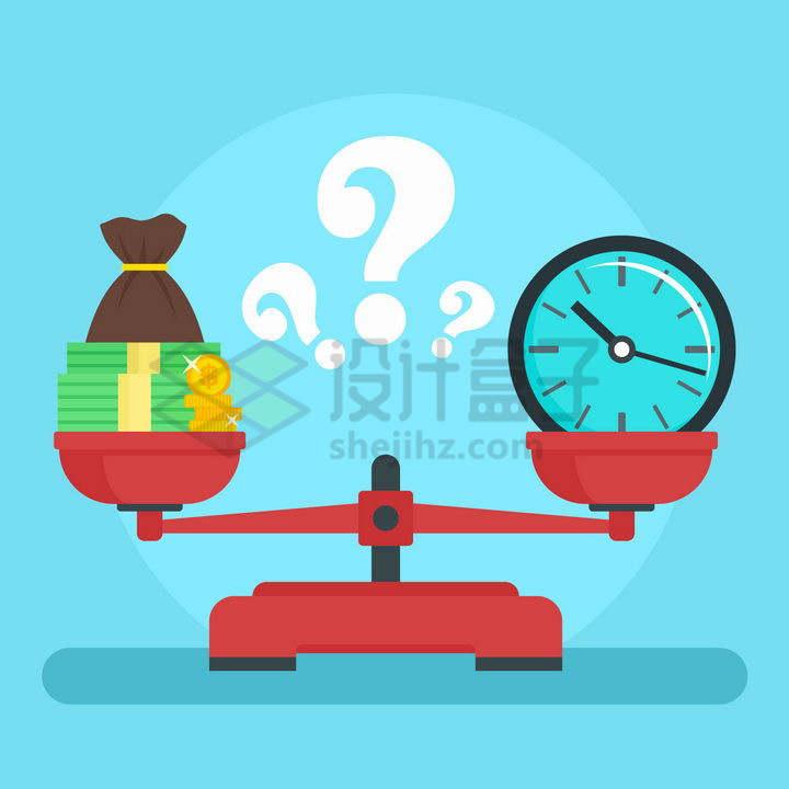扁平化风格托盘天平秤中的金钱和时间谁更重要png图片免抠矢量素材