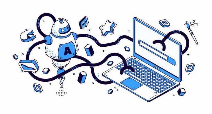 扁平插画风格正在拆除笔记本电脑的机器人png图片免抠矢量素材