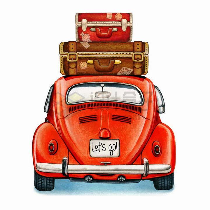 顶部放了行李的红色甲壳虫老爷车汽车旅行png图片免抠矢量素材
