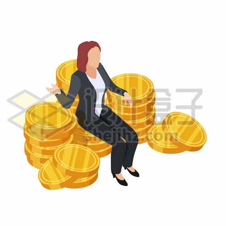 商务女士坐在一堆金币上png图片免抠矢量素材
