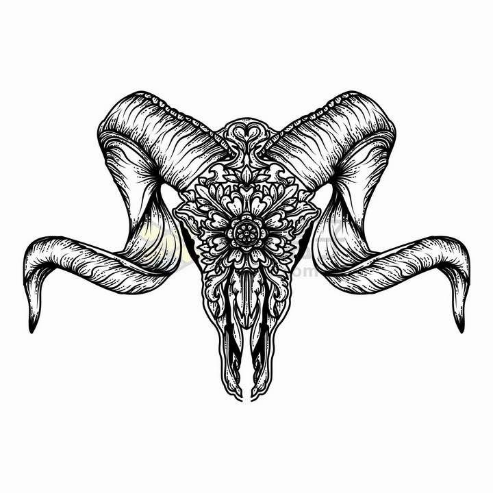 弯曲羊角的山羊头骨带有抽象花纹黑色线条插画png图片免抠矢量素材