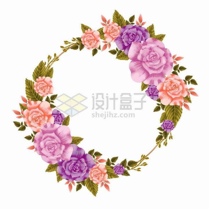 粉色紫色花朵和深绿色叶子组成的婚礼花环文本框标题框png图片免抠矢量素材