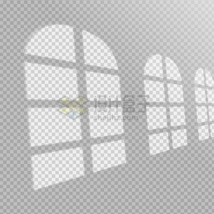 一排拱形窗户在墙上的影子png图片免抠矢量素材