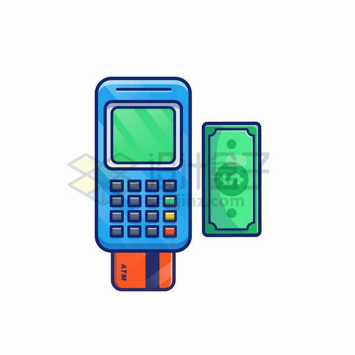 MBE风格绿色美元钞票和POS机png图片免抠矢量素材