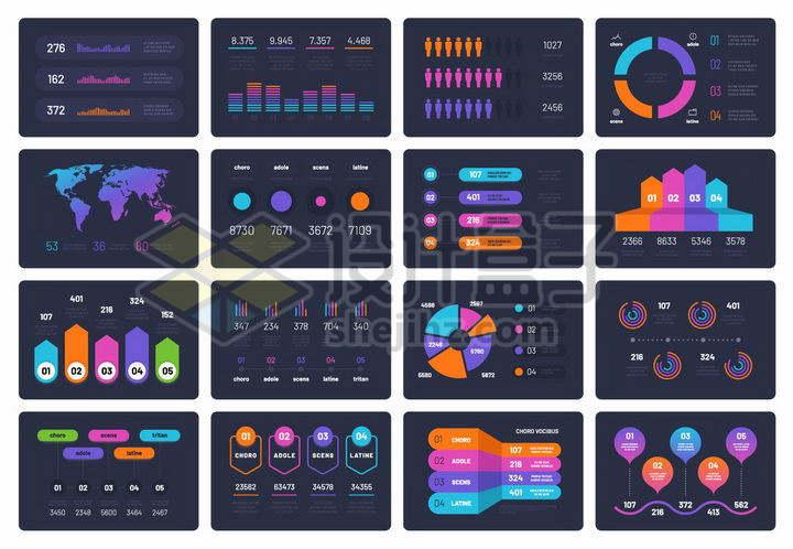 16款深色系的创意PPT信息图表数据图表png图片免抠矢量素材