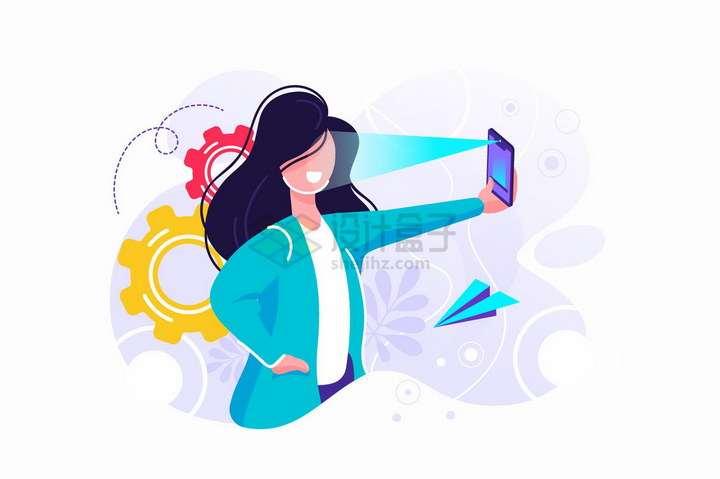使用智能手机面部识别功能自拍的商务人士扁平插画png图片免抠矢量素材