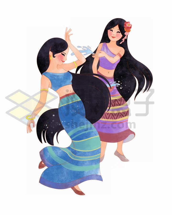 泼水节戏水的傣族少女传统服饰少数民族png图片免抠素材