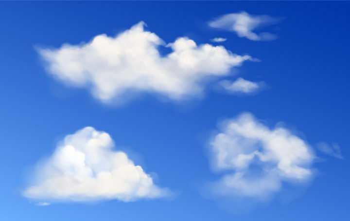 三款真实的白色云朵png图片免抠矢量素材