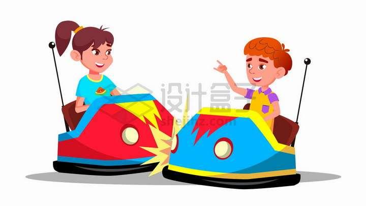 玩碰碰车的卡通男孩女孩png图片免抠矢量素材