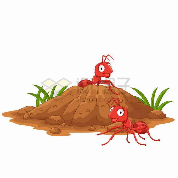 两只卡通红色蚂蚁和土堆蚂蚁窝蚁丘png图片免抠矢量素材