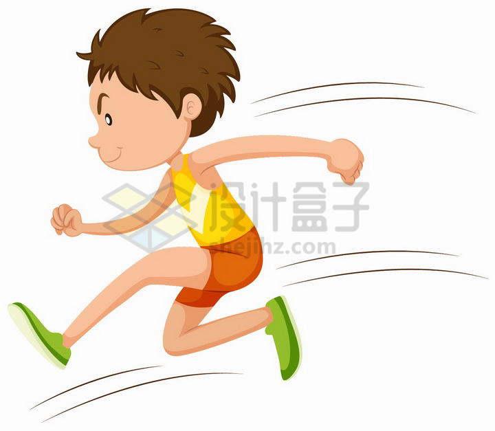 卡通男孩正在快速奔跑跳跃png图片免抠矢量素材