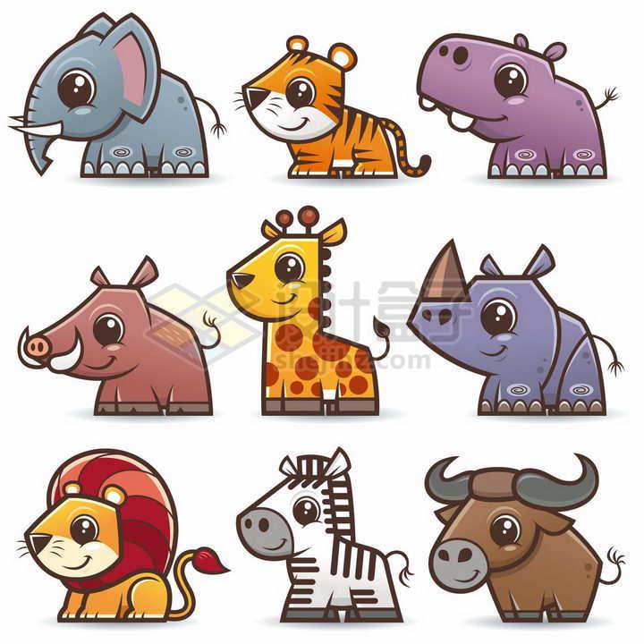 大象老虎河马野猪长颈鹿犀牛狮子斑马水牛等可爱卡通动物png图片免抠素材