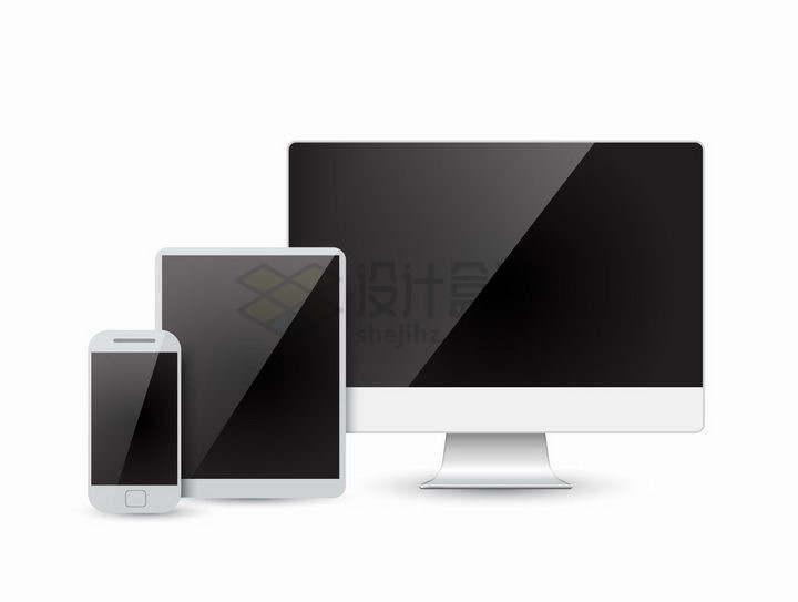 黑色镜面屏幕的电脑显示器平板和手机排列在一起png图片免抠矢量素材