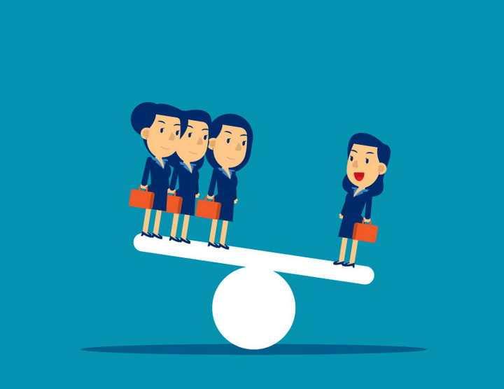 跷跷板上的商务女士核心员工比一堆人更重要png图片免抠矢量素材