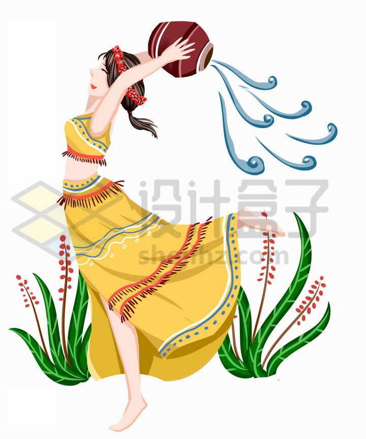 优美傣族少女泼水节传统服饰少数民族png图片免抠素材