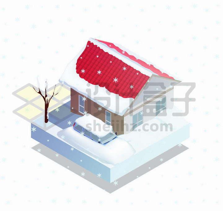 2.5D风格冬天被白雪覆盖的红顶房子和汽车png图片免抠矢量素材