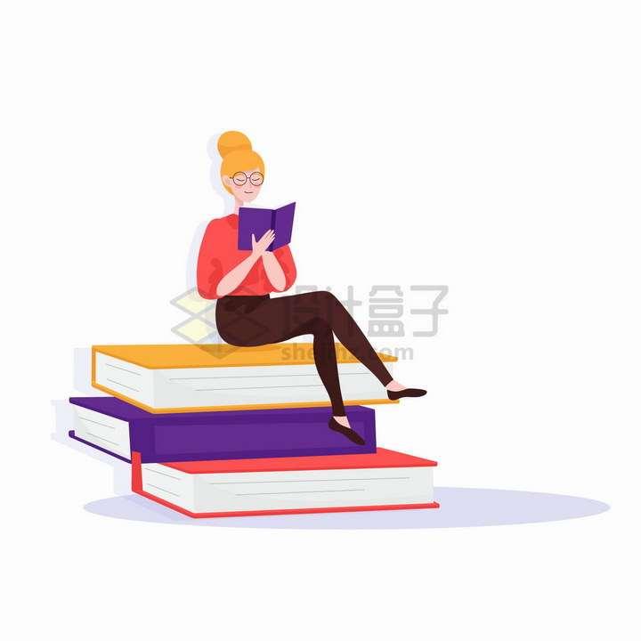 坐在大大的书本上读书的卡通女孩扁平插画png图片免抠矢量素材