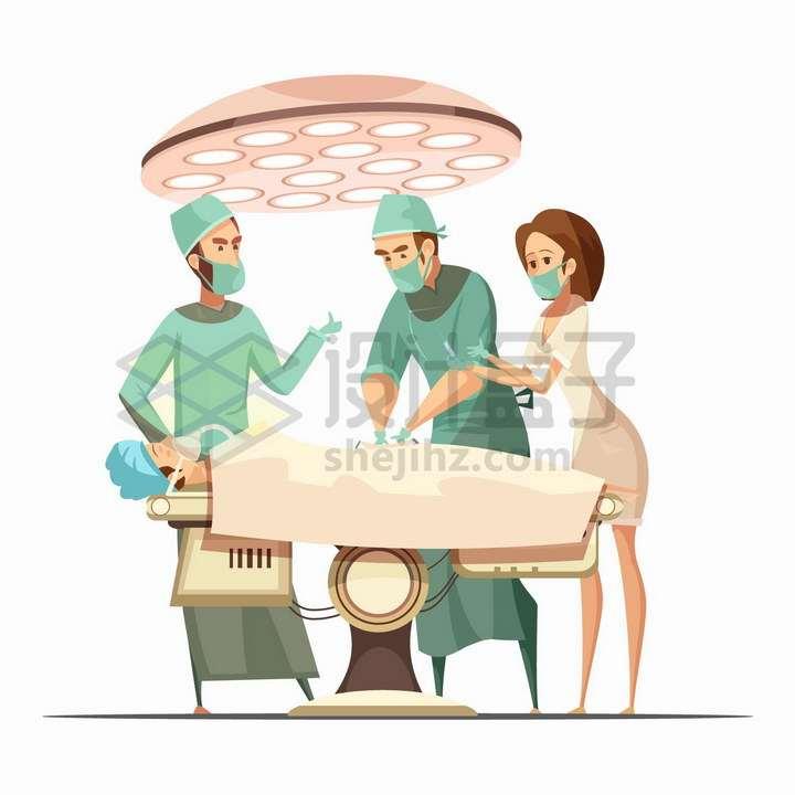 正在手术无影灯下做手术的卡通医生png图片免抠矢量素材