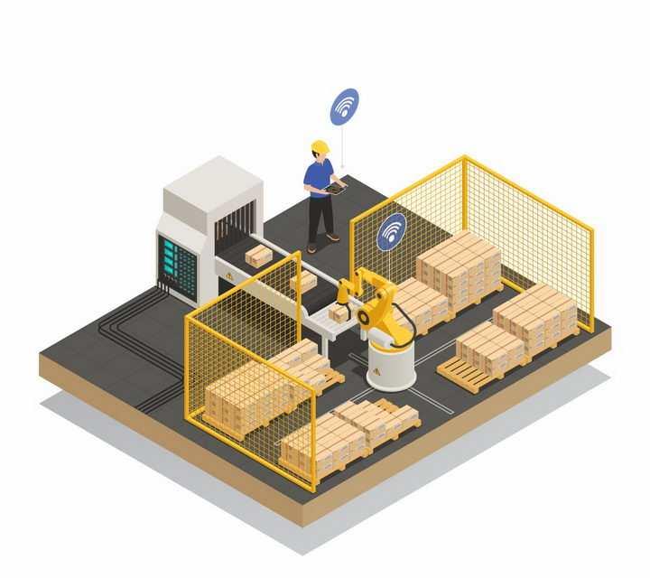 2.5D风格智能机器人正在将货物摆放整齐png图片免抠矢量素材