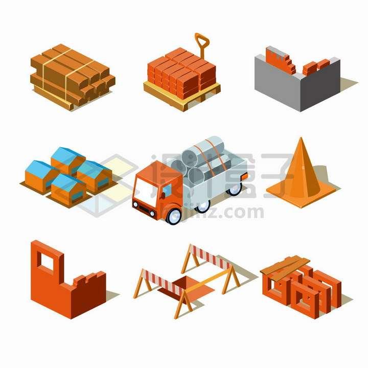 木头砖头钢管砖墙等建筑工地材料png图片免抠矢量素材