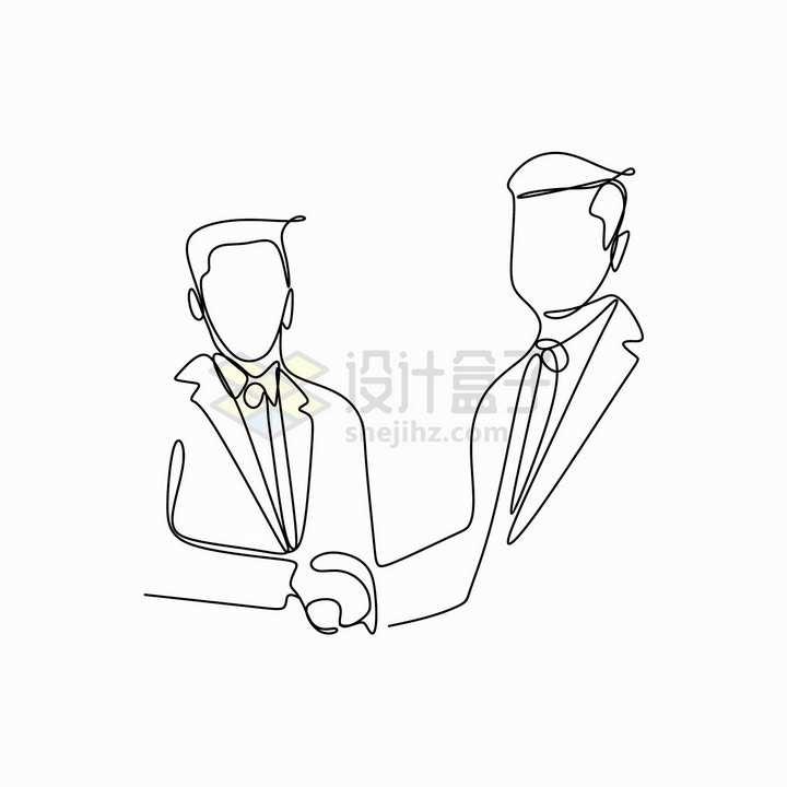 握手的商务人士创意线条手绘插画png图片免抠矢量素材