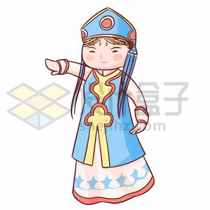 Q版卡通蒙古族少女蓝色传统服饰少数民族png图片免抠素材