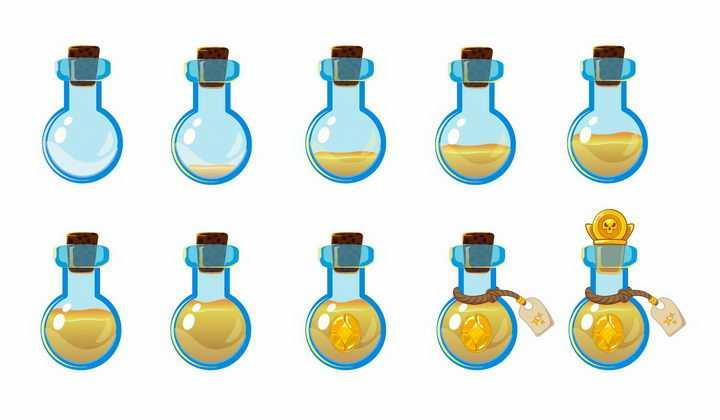 10种卡通游戏中的黄色药水瓶png图片免抠矢量素材