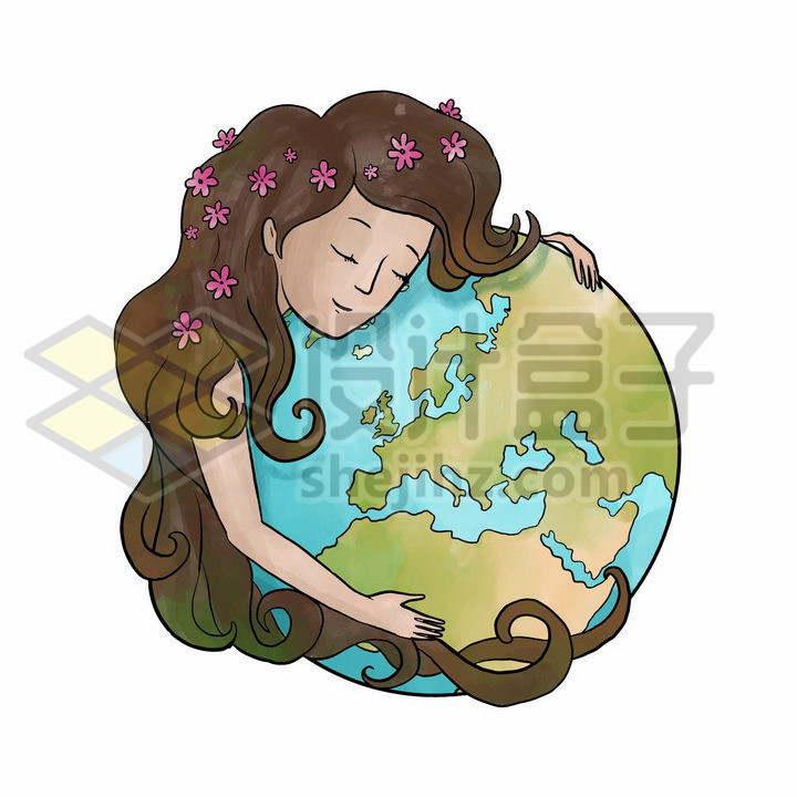 卡通女孩闭着眼睛拥抱着地球保护地球主题png图片免抠矢量素材