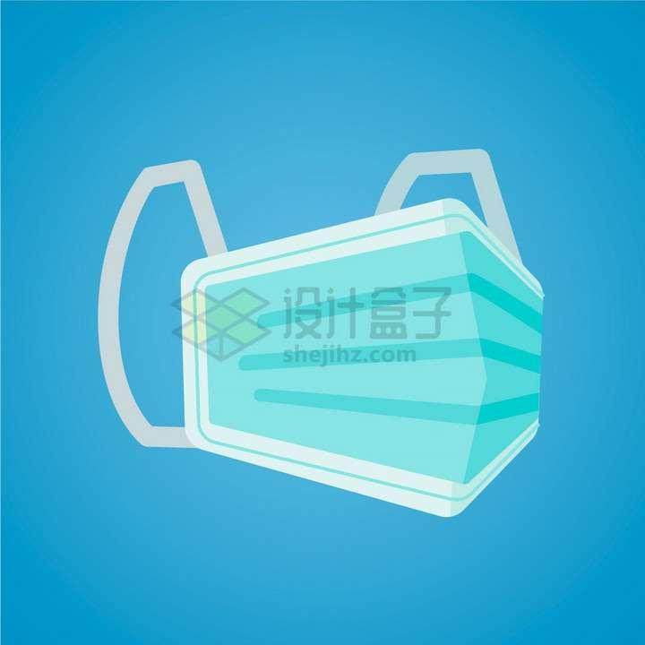 折叠的绿色一次性医用口罩扁平化png图片免抠矢量素材