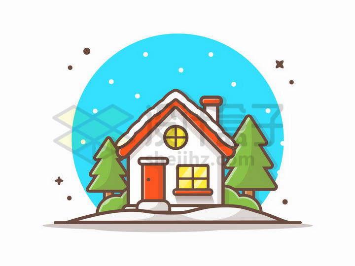 MBE风格屋顶有积雪的房子风景图png图片免抠矢量素材