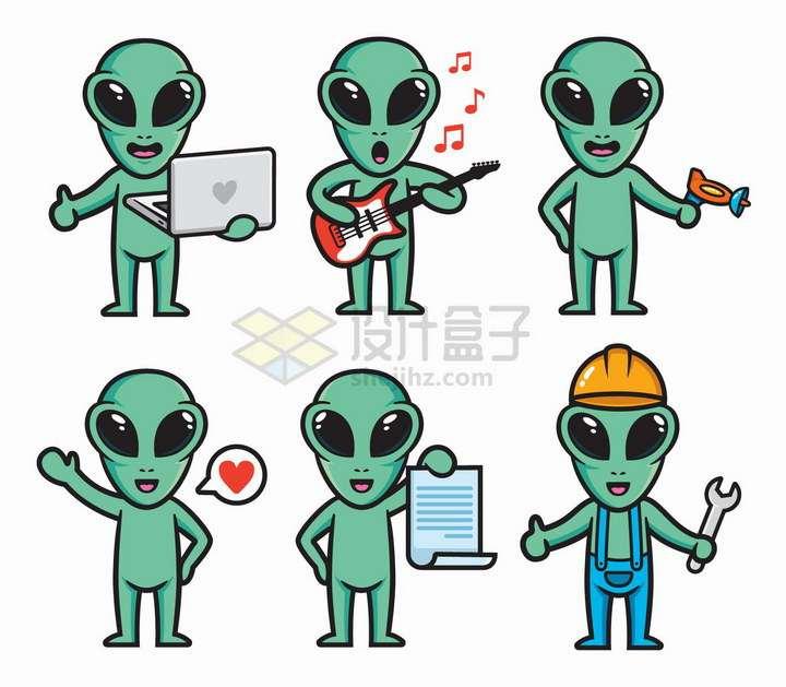 卡通绿色外星人使用笔记本电脑弹吉他等png图片免抠矢量素材
