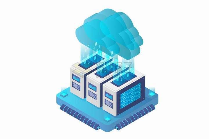 2.5D风格蓝色云计算技术服务器数据传输png图片免抠矢量素材