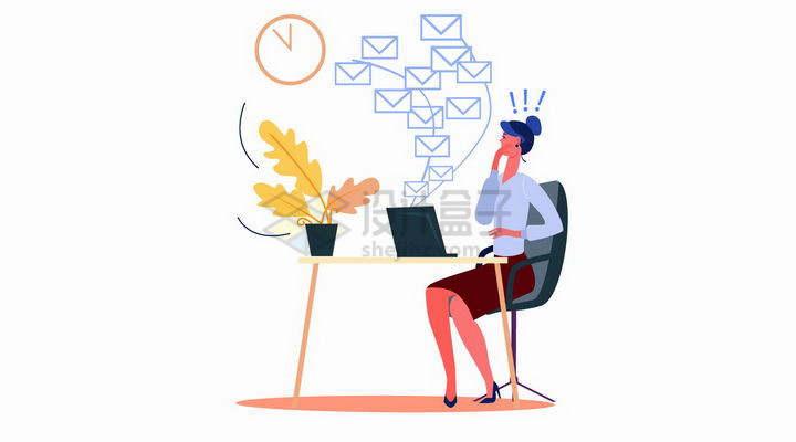 扁平插画职场女性用电脑收到了很多电子邮件png图片免抠矢量素材