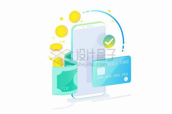 2.5D风格智能手机美元钞票银行卡和金币象征了手机支付技术png图片免抠矢量素材