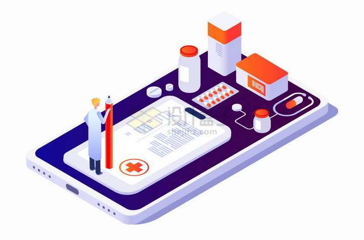 2.5D风格手机上的医生和医药象征了网上看病png图片免抠矢量素材